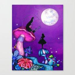 Alice in Wonderland and Caterpillar Canvas Print