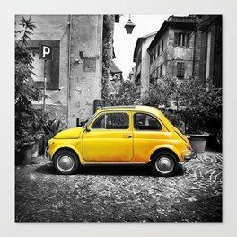 Fiat 500 Yellow Canvas Print
