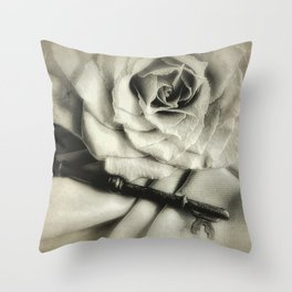 Faded Rose and Old Key Vintage Style Modern Country Cottage A440 Throw Pillow