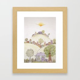 Hills of Colorful Houses Framed Art Print