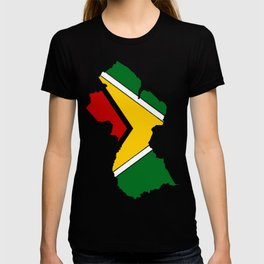 Guyana Map with Guyanese Flag T-shirt