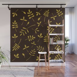 Gold Leaves Design on Brown Wall Mural