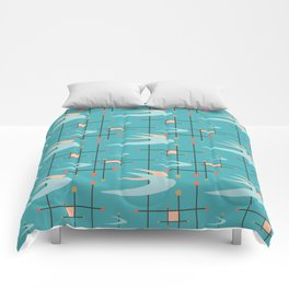Mid Century Modern in Turquoise Comforters
