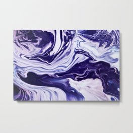 Blue, Pink, White and Purple Marble Metal Print