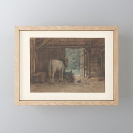 Horse in a stable at an open stable door, Anton Mauve, c. 1848 - c. 1888 Framed Mini Art Print