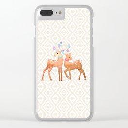 Watercolor Deer on Geometric Pattern Clear iPhone Case