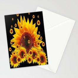 Raining Yellow Sunflowers Decorative Black Pattern  Stationery Cards