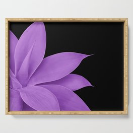 Agave Finesse #10 - Purple on Black #tropical #decor #art #society6 Serving Tray
