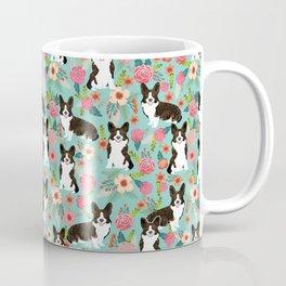 Brindle Cardigan Corgi Florals - cute corgi design, corgi owners will love this mint florals corgi Coffee Mug