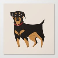 rottweiler Canvas Prints featuring Rottweiler by Reimena Ashel Yee
