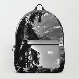 forest panorama kaunertal alps tyrol austria europe black white Backpack