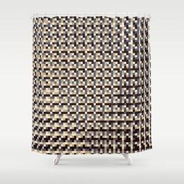 leigh - tan beige black ivory indigo geometric mosaic pattern Shower Curtain