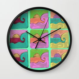 Ocean Wave Pastel Wall Clock