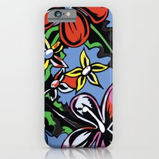 tropical flowers blue Slim Case iPhone 6s