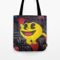 pacman Tote Bags featuring pacman by RaieshaM