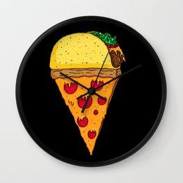 Taco Pizza Cone Wall Clock