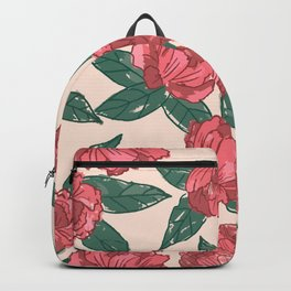 Red Watercolor Peony Flower Pattern Backpack