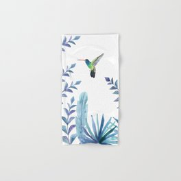 Hummingbird with tropical foliage Hand & Bath Towel
