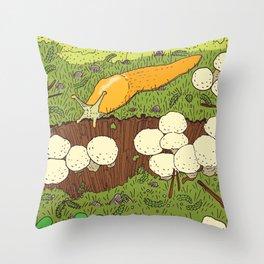 Banana Slug & Mushrooms Throw Pillow