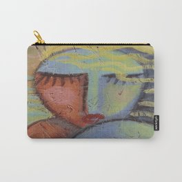 Woman with Beachy Hair Abstract Acrylic Painting on OSB Board Carry-All Pouch