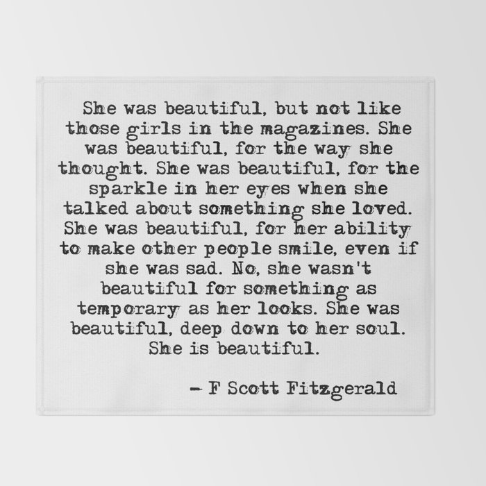She Was Beautiful Fitzgerald Quote Throw Blanket By Quoteme Society6