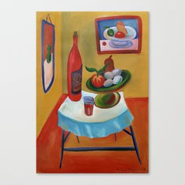 bottle and fruit Canvas Print