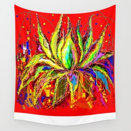 Agave Cacti In Red Festival Colors Abstract Wall Tapestry