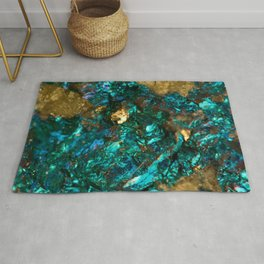 Teal Oil Slick and Gold Quartz Rug