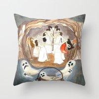 coven Throw Pillows featuring Halloween night - The coven ( Noche de brujas: aquelarre ) by Silvia Santamaria