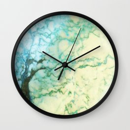 Abstract modern teal brown marble tree pattern Wall Clock