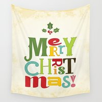 merry christmas Wall Tapestries featuring Merry Christmas! by Noonday Design