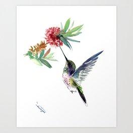 Hummingbird. elegant bird and flowers, minimalist bird art beautiful bird painting Art Print