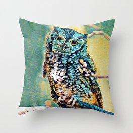 Screech Owl | Painting  Throw Pillow