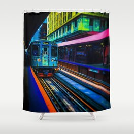 Brown Line Approaching Shower Curtain