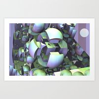 sci fi Art Prints featuring Sci-fi town by thea walstra