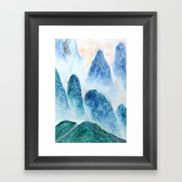 dawn in the mountain forest Framed Art Print