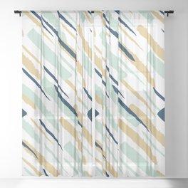 Diagonal strokes Sheer Curtain