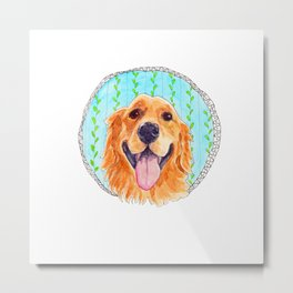 You're Never Fully Dressed without a Smile, Golden Retriever, Whimsical Watercolor Painting, White Metal Print