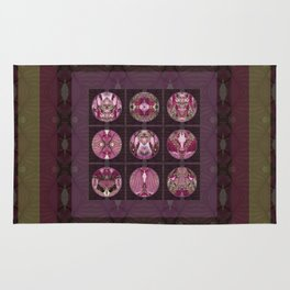 Red Shiso Positive Messages Quilt Art Rug