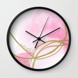 Entangled: vibrant, pink and gold abstract watercolor Wall Clock