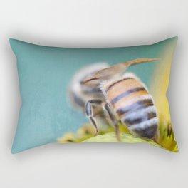 Honeybee on Teal Blue and Yellow Rectangular Pillow