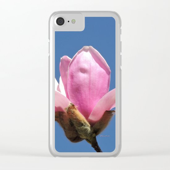 Magnolia Blossom on a Sky Blue Field Clear iPhone Case