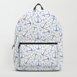 Nautical pattern Gift for boy Blue anchor Room decor Watercolor marine Sea Backpack