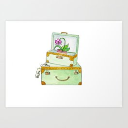 Watercolor Luggage With Orchid and Key Art Print