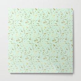 Mint Gold Splatter Abstract Metal Print