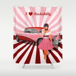 I love Rockabilly Shower Curtain