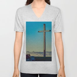 The Cross on the Hill Unisex V-Neck