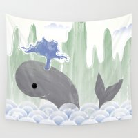 the whale Wall Tapestries featuring Whale by Esther Ilustra