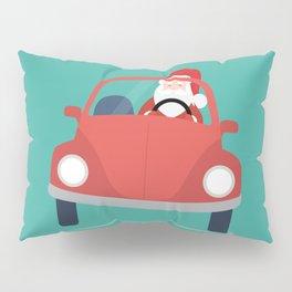 Santa Claus coming to you on his Car Sleigh Pillow Sham