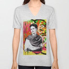 Frida Kahlo | Graffiti Street Artwork Unisex V-Neck
